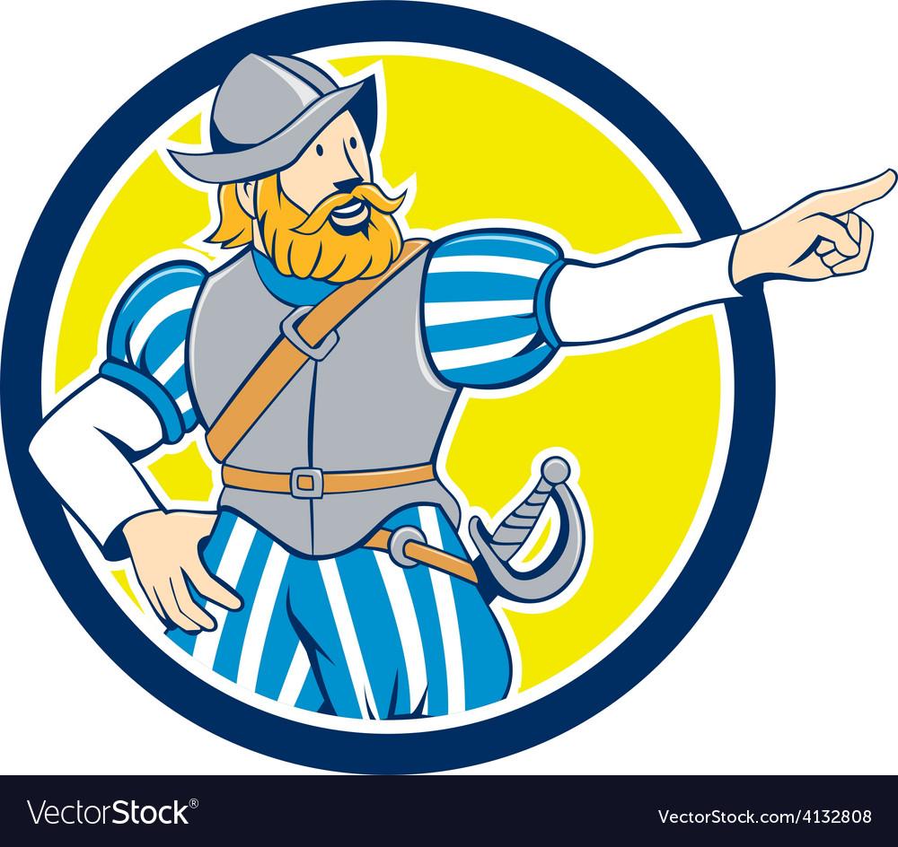 Spanish conquistador pointing cartoon circle vector | Price: 1 Credit (USD $1)