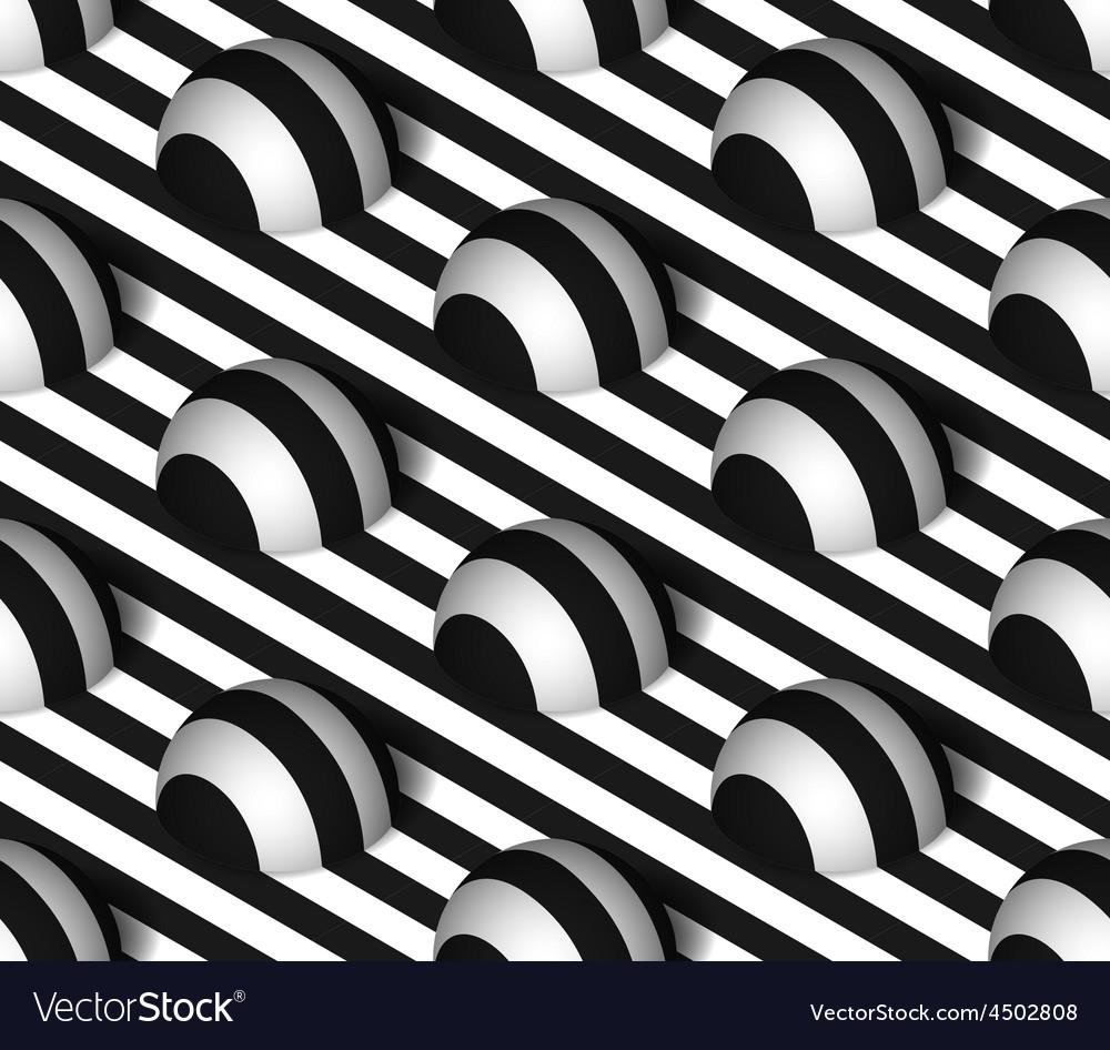 Striped 3d hemisphere hills seamless pattern vector | Price: 1 Credit (USD $1)