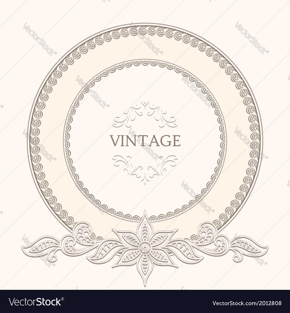 Vintage round frame vector | Price: 1 Credit (USD $1)