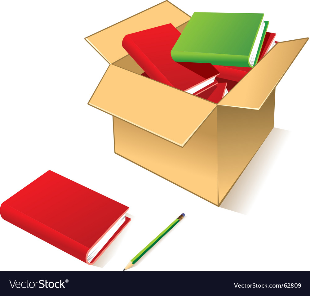 Box with books vector | Price: 1 Credit (USD $1)
