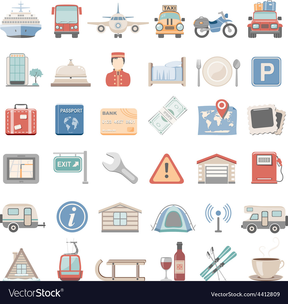 Flat icons vacation vector | Price: 3 Credit (USD $3)