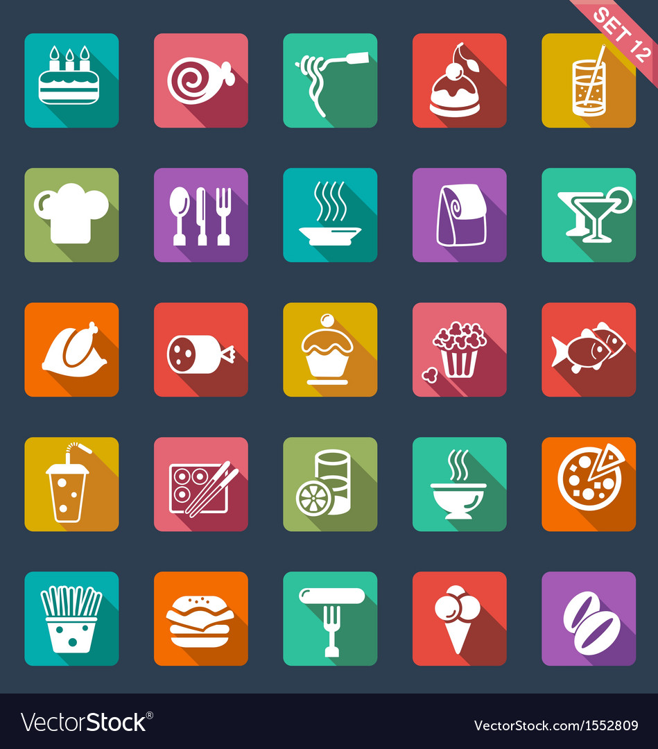Food icons- flat design vector | Price: 1 Credit (USD $1)