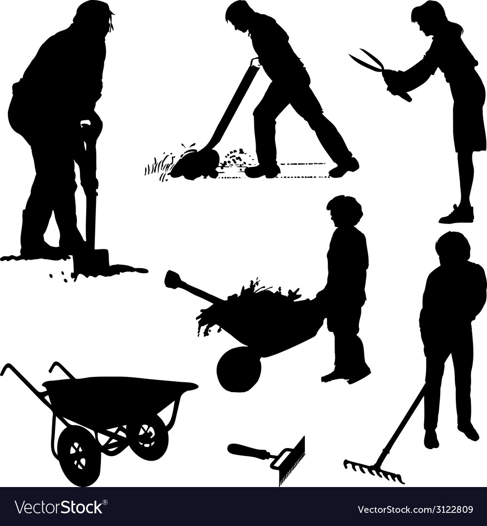 Gardeners and tools vector | Price: 1 Credit (USD $1)