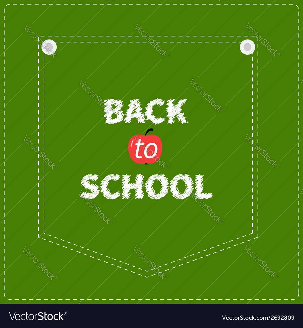 Green denim jeans pocket dash line back to school vector | Price: 1 Credit (USD $1)
