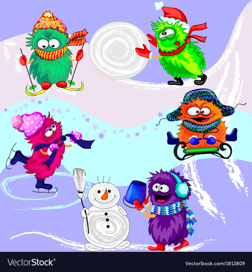 Monsters winter sports vector | Price: 1 Credit (USD $1)