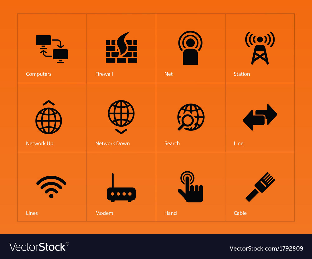 Networking icons on orange background vector | Price: 1 Credit (USD $1)