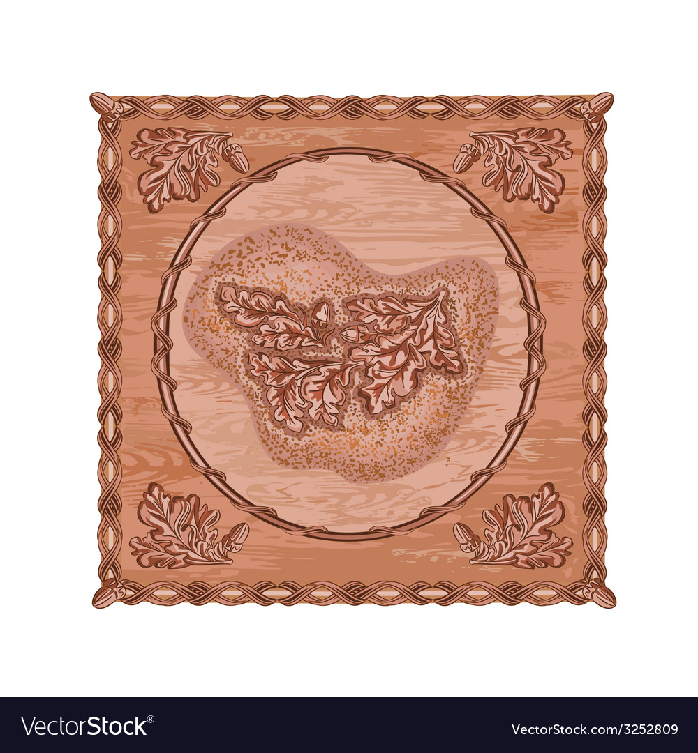 Oak leaves and acorns woodcarving hunting theme vector | Price: 1 Credit (USD $1)
