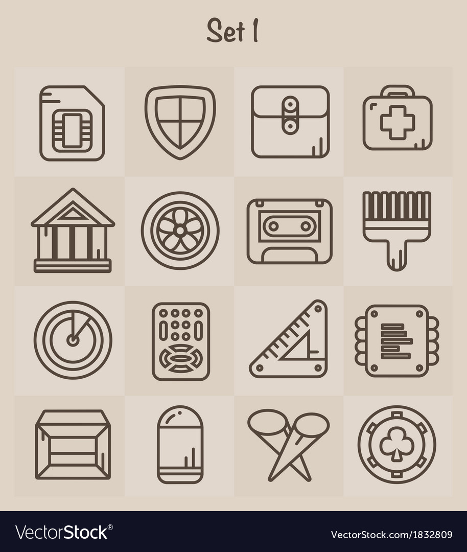 Outline icons set 1 vector | Price: 1 Credit (USD $1)