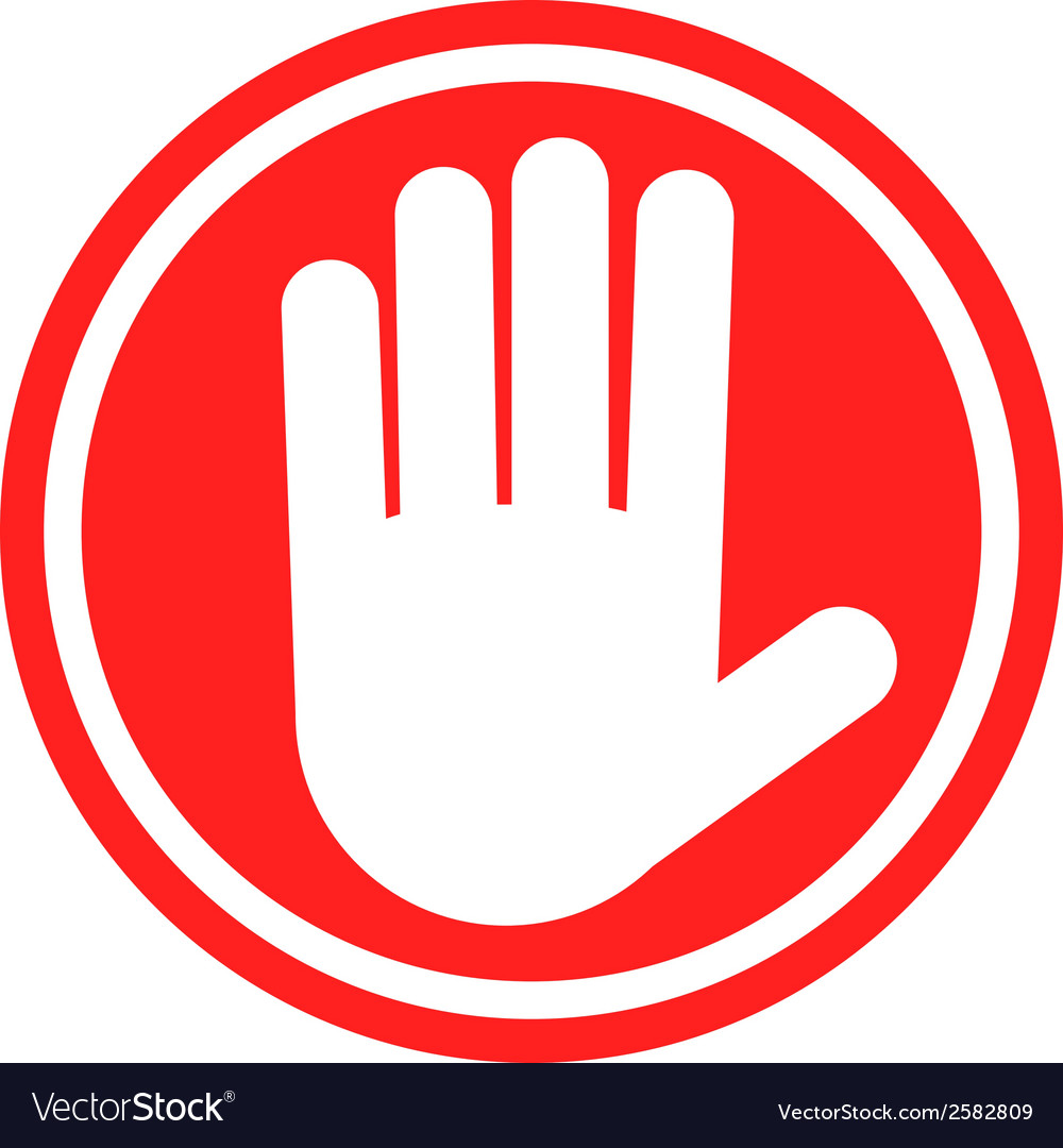 Stop sign with human hand warning sign hazardous vector | Price: 1 Credit (USD $1)