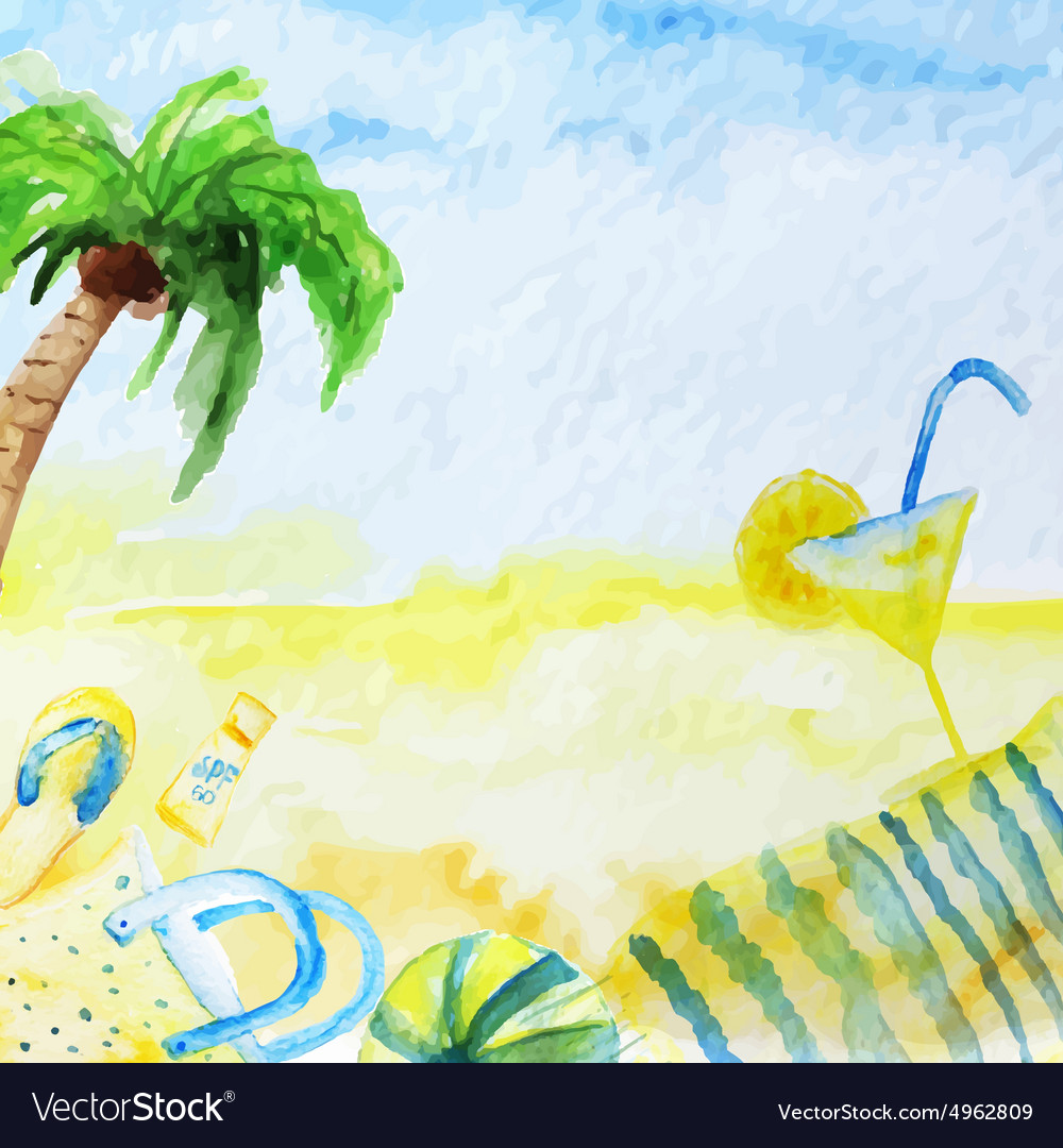 Watercolor summer poster on beach vector
