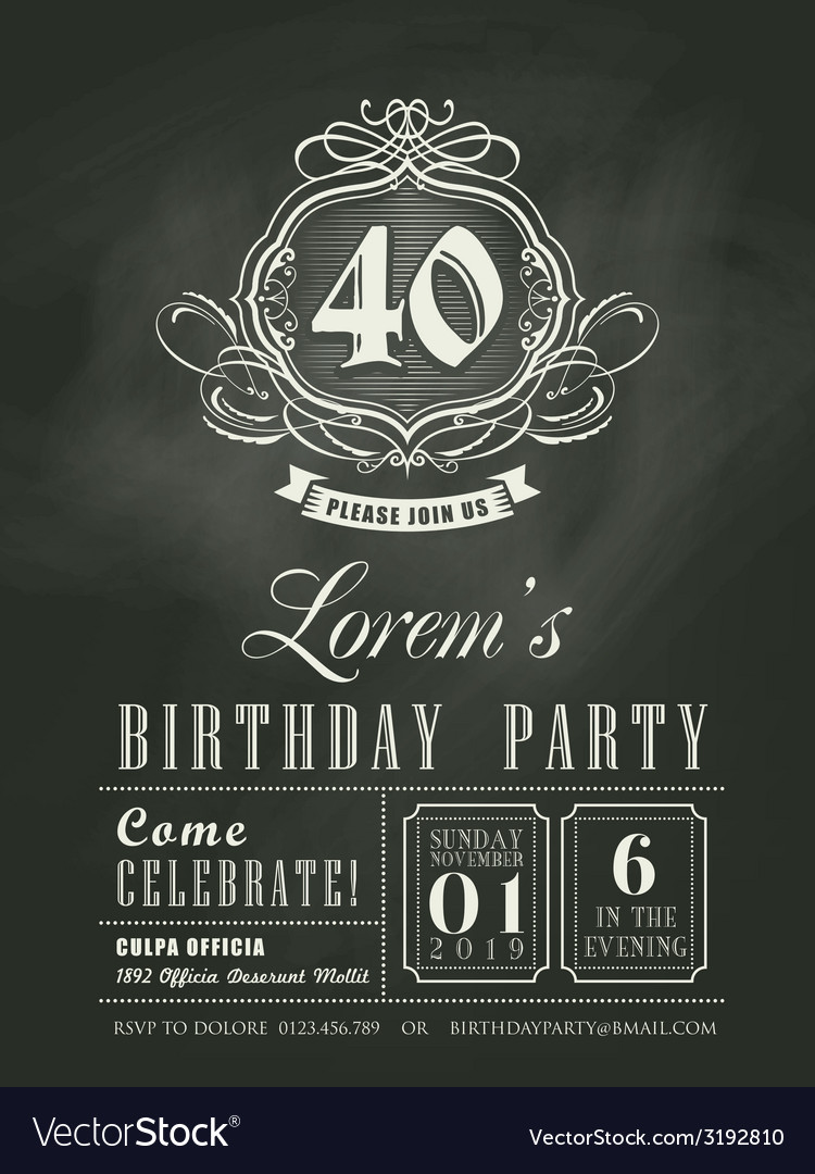 Anniversary birthday card chalkboard background vector | Price: 1 Credit (USD $1)