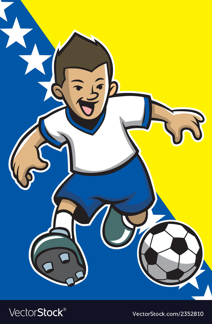 Bosnia and herzegovina soccer player with flag vector | Price: 1 Credit (USD $1)