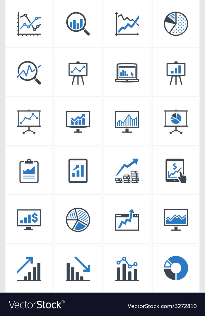 Business graphs and charts icons - blue series vector | Price: 1 Credit (USD $1)
