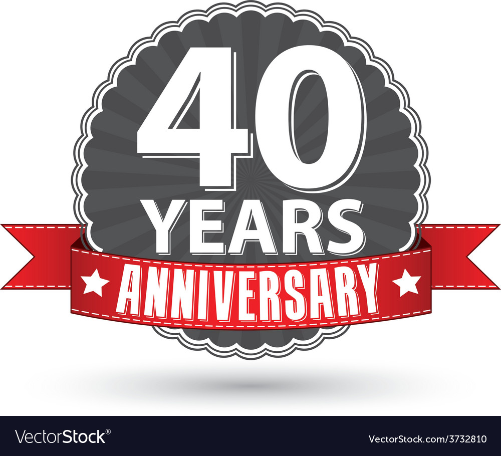 Celebrating 40 years anniversary retro label with vector | Price: 1 Credit (USD $1)