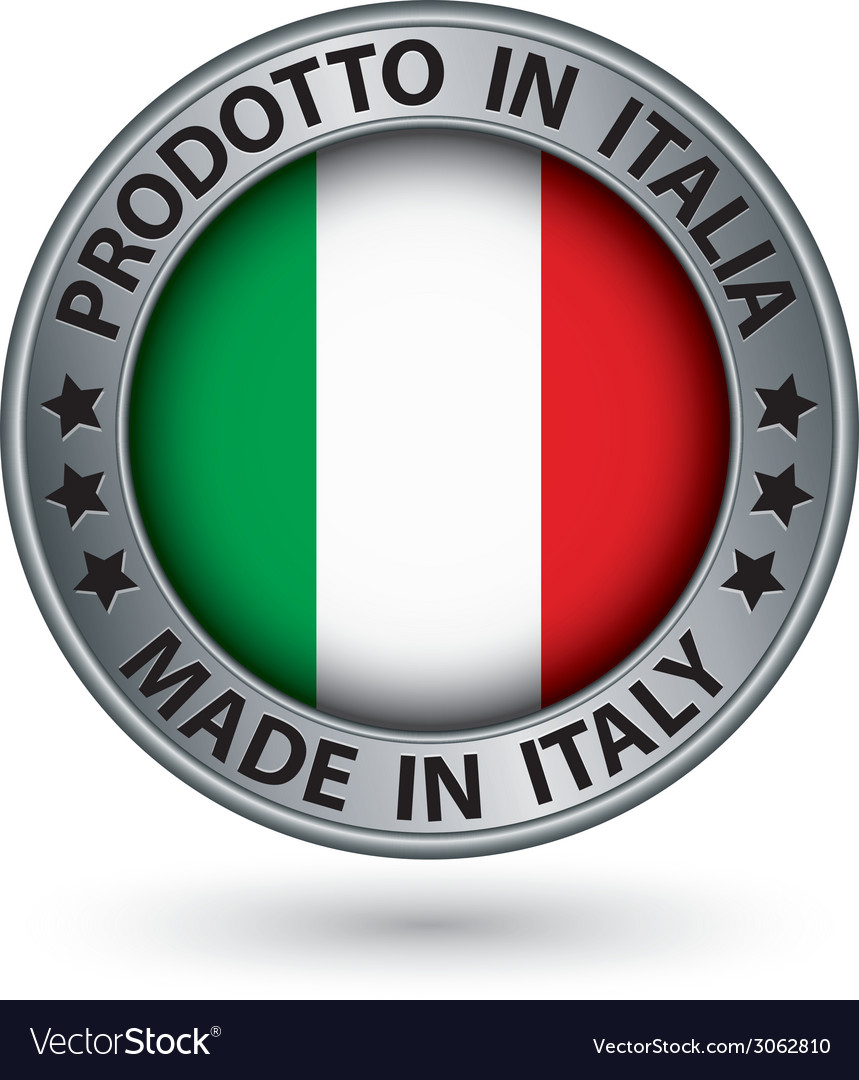 Made in italy silver label with flag vector | Price: 1 Credit (USD $1)