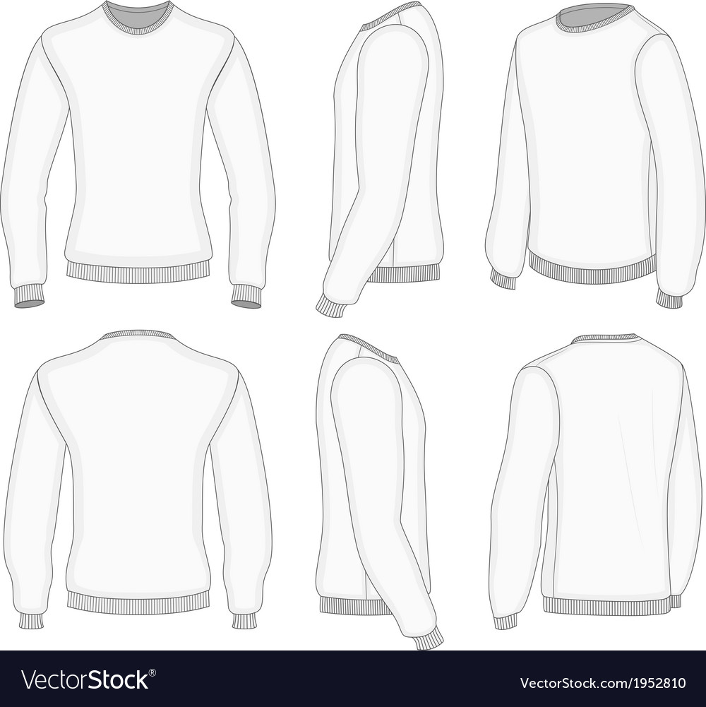 Mens white long sleeve t-shirt vector | Price: 1 Credit (USD $1)