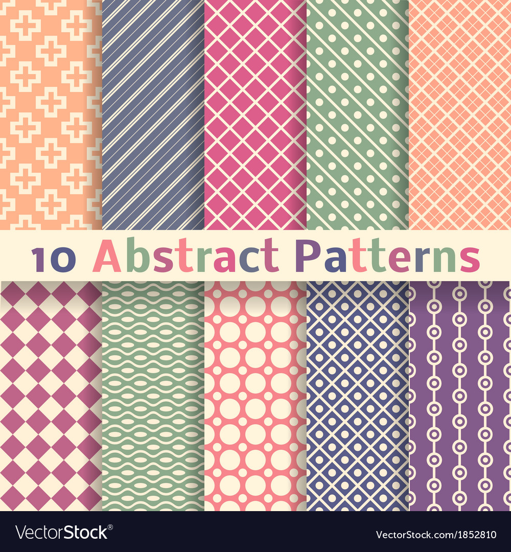 Retro abstract seamless patterns tiling vector | Price: 1 Credit (USD $1)