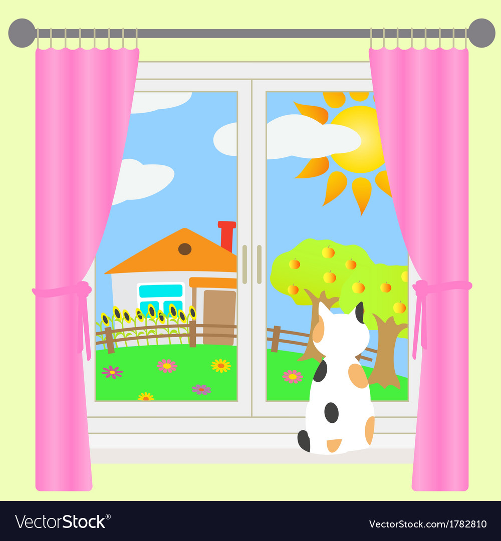 Rural landscape outside the window vector | Price: 1 Credit (USD $1)