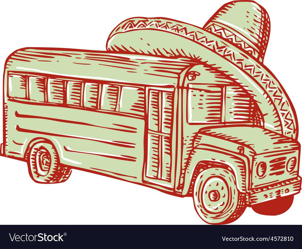 Sombrero school bus etching vector | Price: 1 Credit (USD $1)
