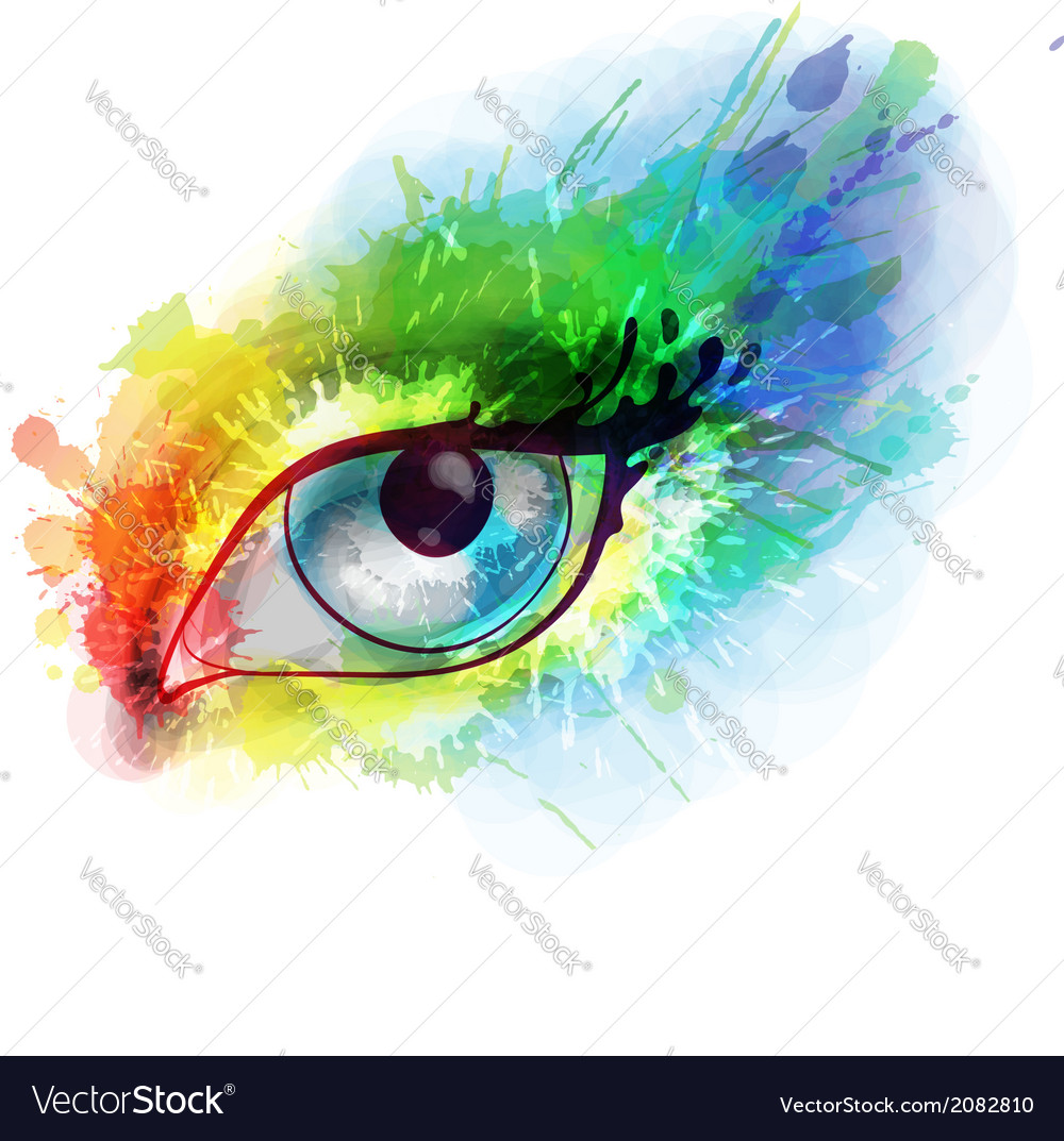 Woman eye made colorful splashes vector | Price: 1 Credit (USD $1)