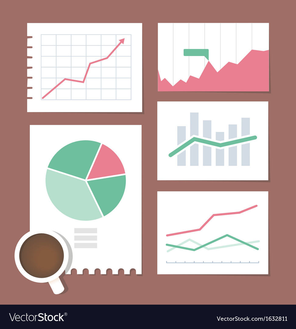 Business chart set vector | Price: 1 Credit (USD $1)
