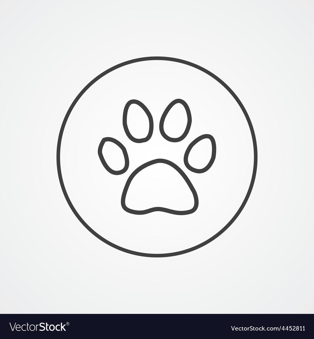 Cat footprint outline symbol dark on white vector | Price: 1 Credit (USD $1)