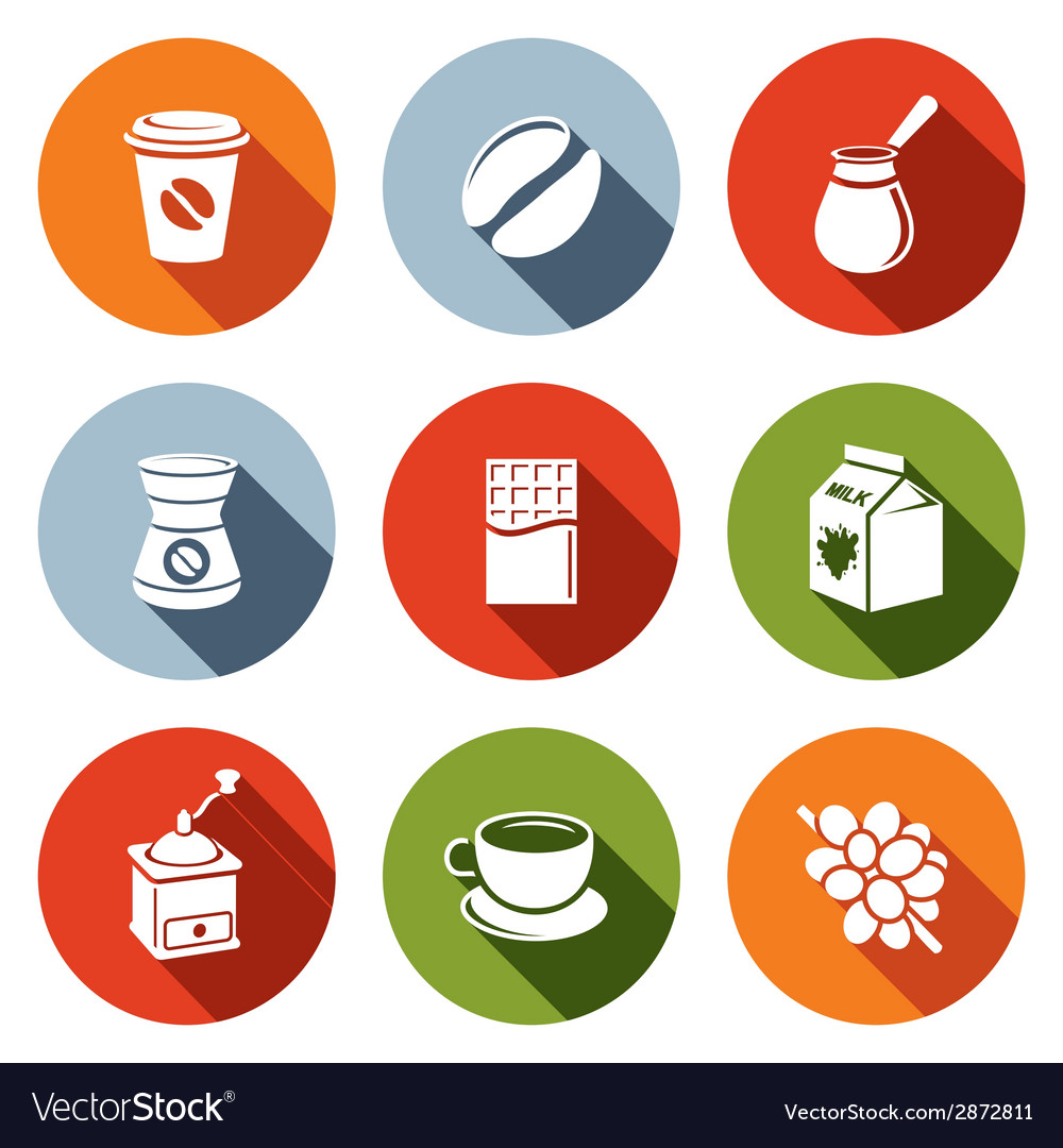 Coffee flat icon set vector | Price: 1 Credit (USD $1)