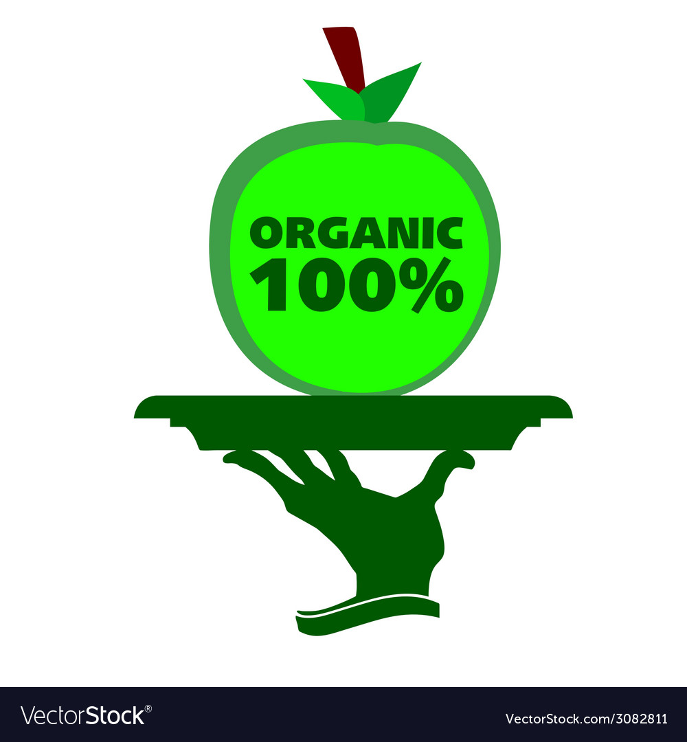 Organic apple on a tray vector | Price: 1 Credit (USD $1)
