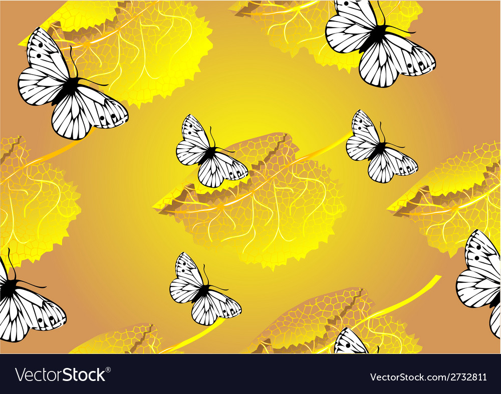 Seamless texture of leaves and butterfly vector