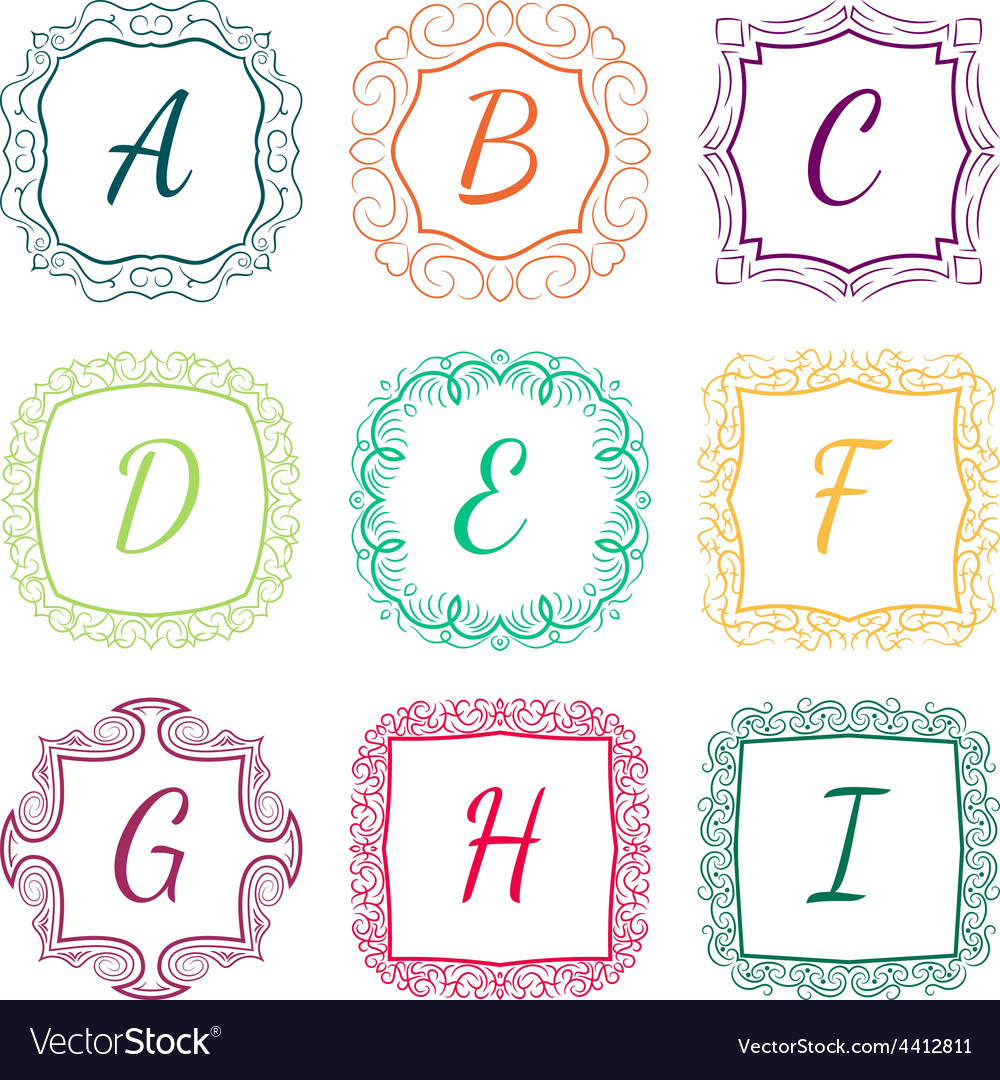 Set of monograms hand drawn style colorful with vector | Price: 1 Credit (USD $1)