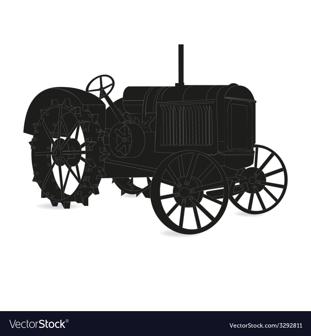 The silhouette of the old tractor vector | Price: 1 Credit (USD $1)