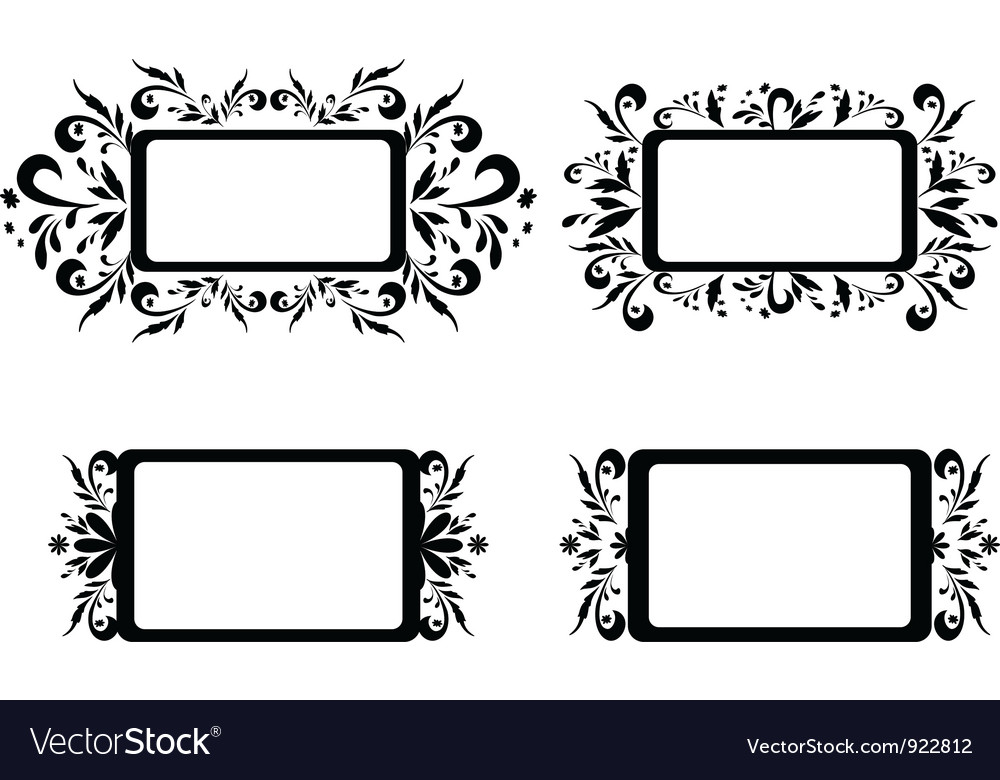 Backgrounds with floral pattern silhouette vector | Price: 1 Credit (USD $1)