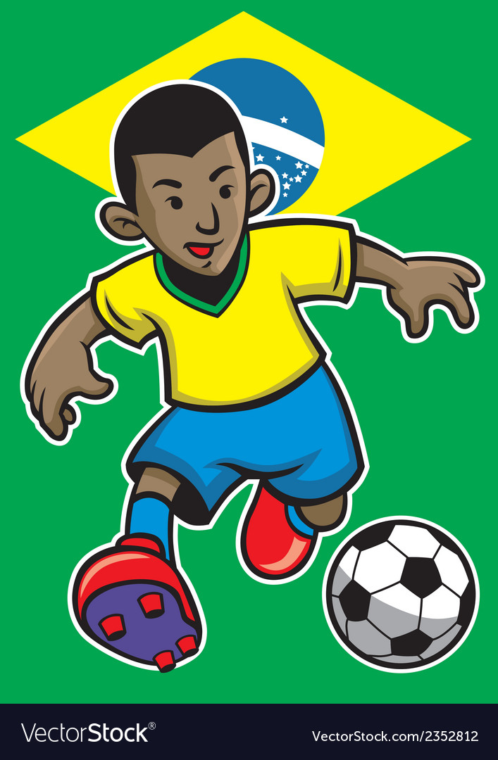 Brazil soccer player with brazil flag background vector | Price: 1 Credit (USD $1)