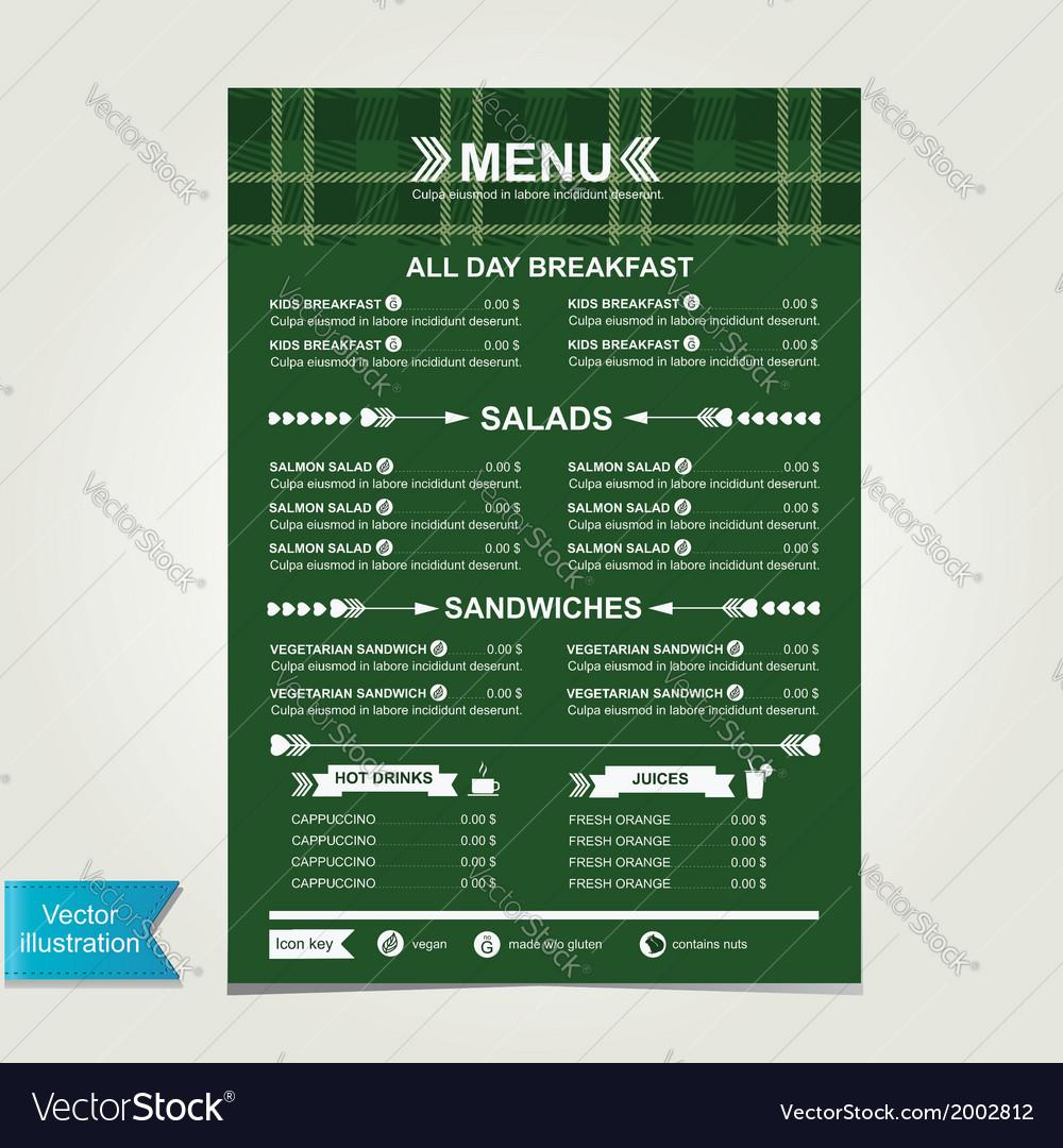 Cafe menu template design vector | Price: 1 Credit (USD $1)
