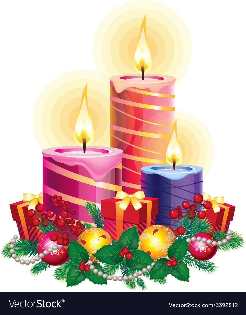 Christmas candles vector | Price: 3 Credit (USD $3)