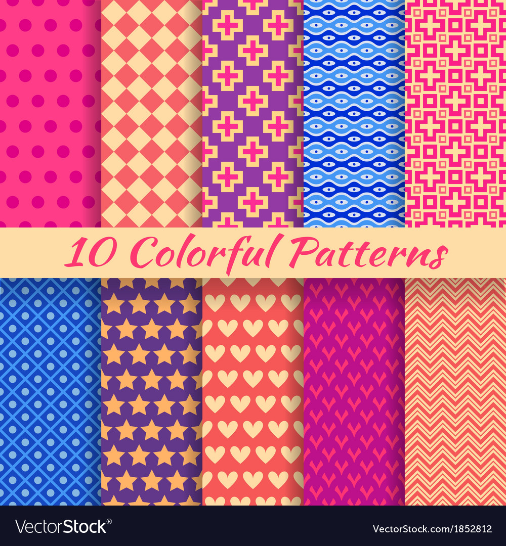 Colorful geometric bright seamless patterns tiling vector | Price: 1 Credit (USD $1)