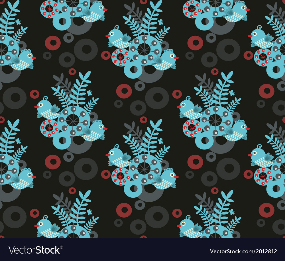 Colorful seamless pattern with blue bird vector | Price: 1 Credit (USD $1)
