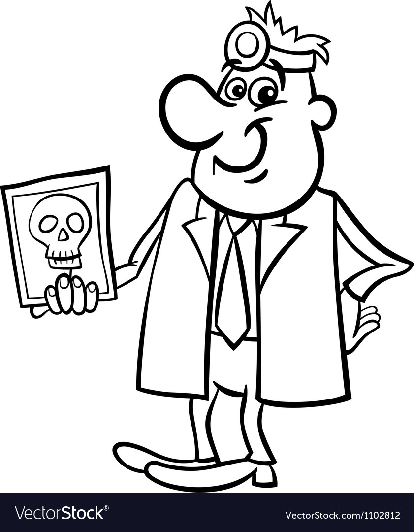 Doctor with xray black and white cartoon vector | Price: 1 Credit (USD $1)