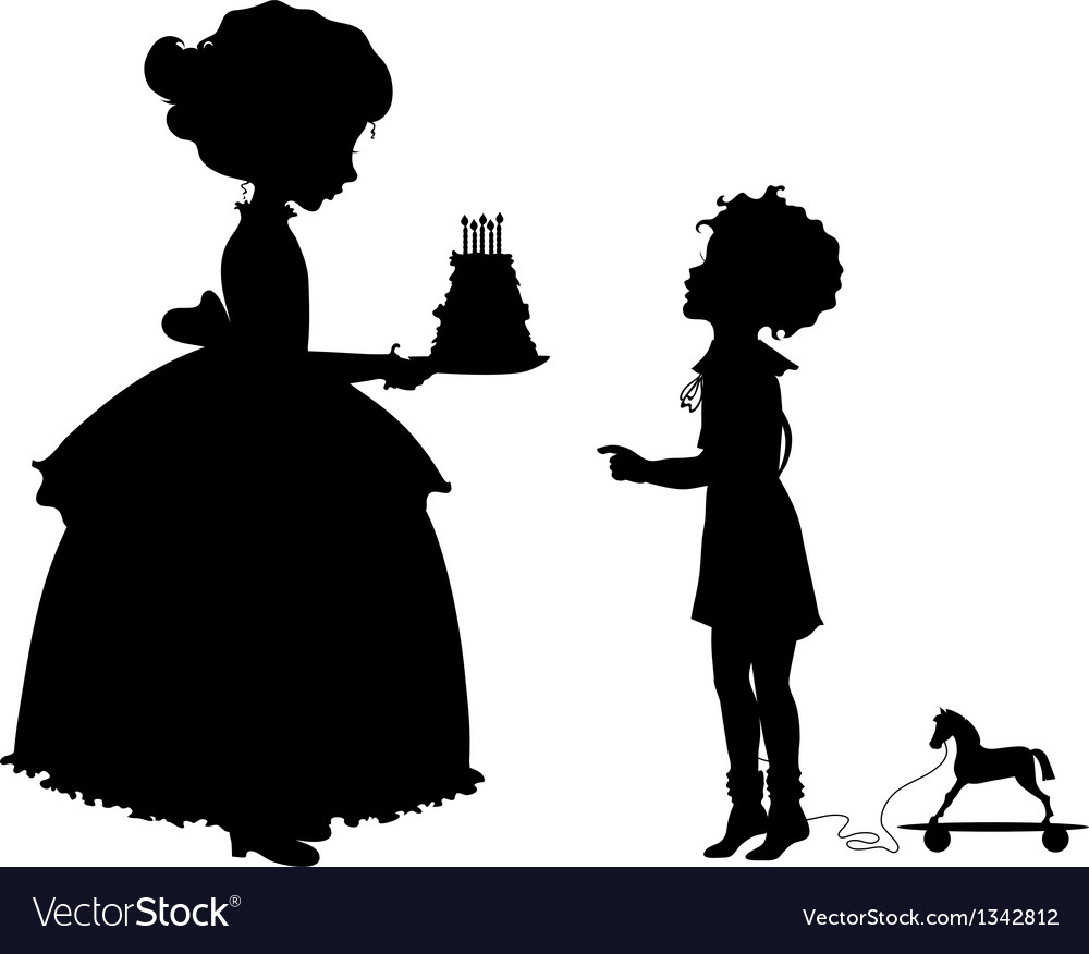 Girl and boy with holyday cake vector | Price: 1 Credit (USD $1)
