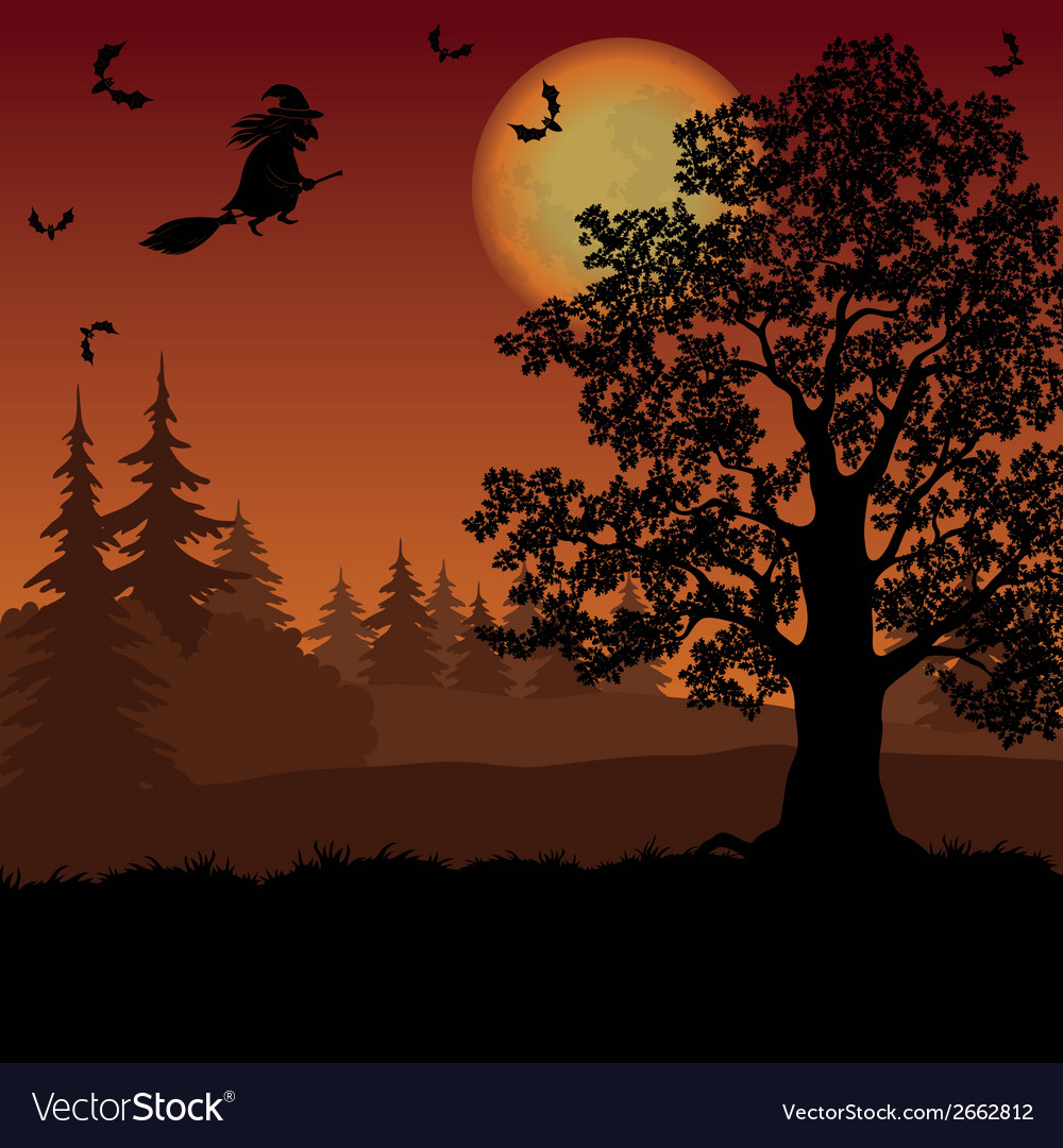 Halloween landscape with witch and trees vector | Price: 1 Credit (USD $1)