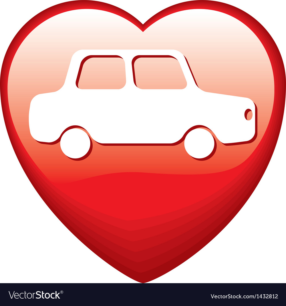 Heart shape with car vector | Price: 1 Credit (USD $1)