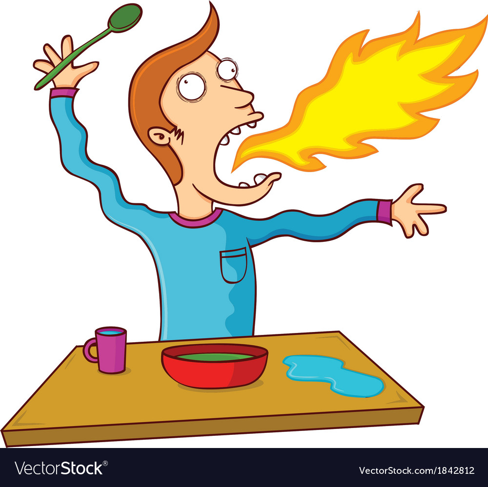 Man eating hot food vector | Price: 1 Credit (USD $1)