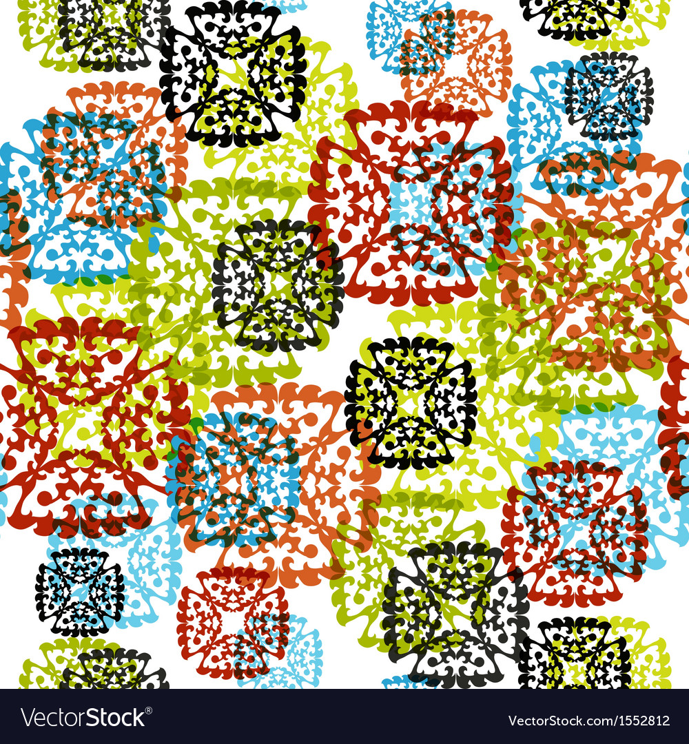 Seamless pattern with multicolor snowflakes vector | Price: 1 Credit (USD $1)