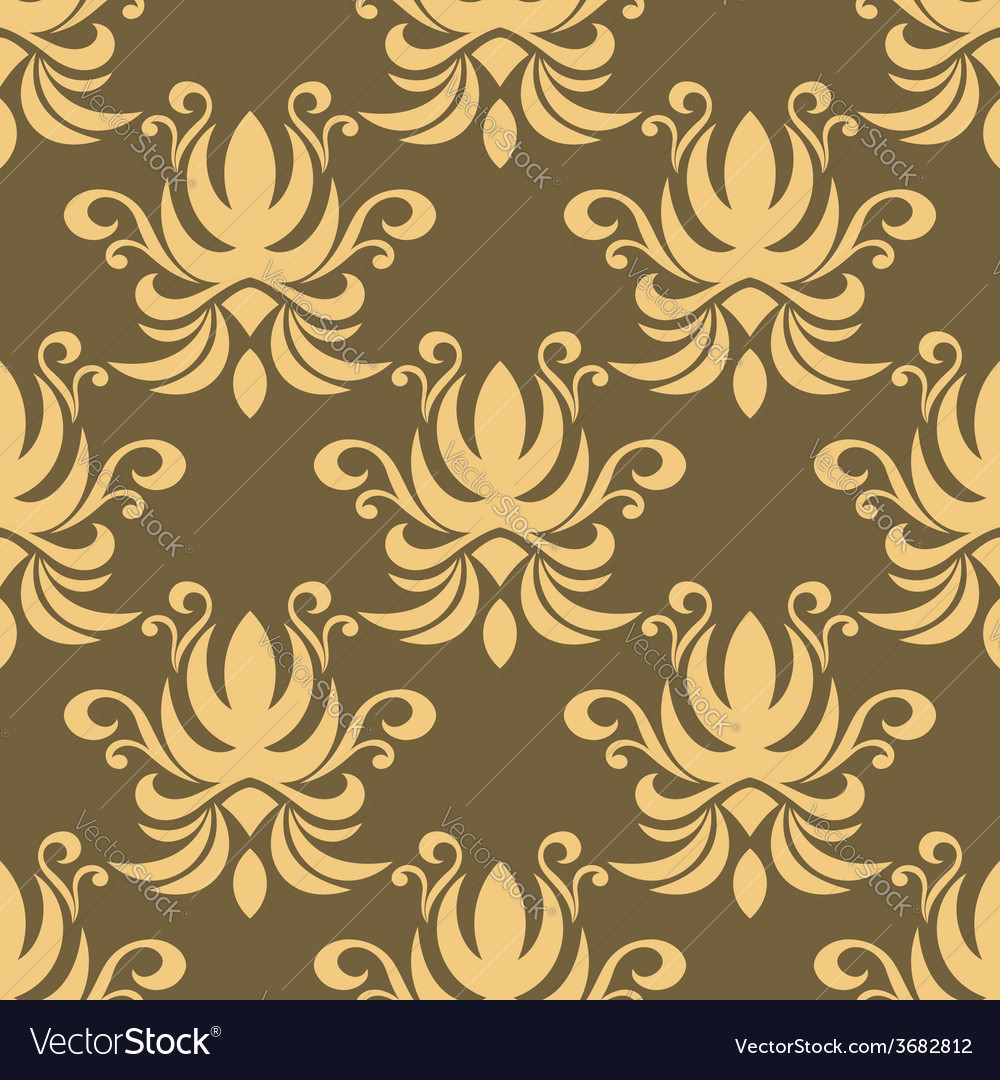 Seamless yellow curly flowers pattern vector | Price: 1 Credit (USD $1)