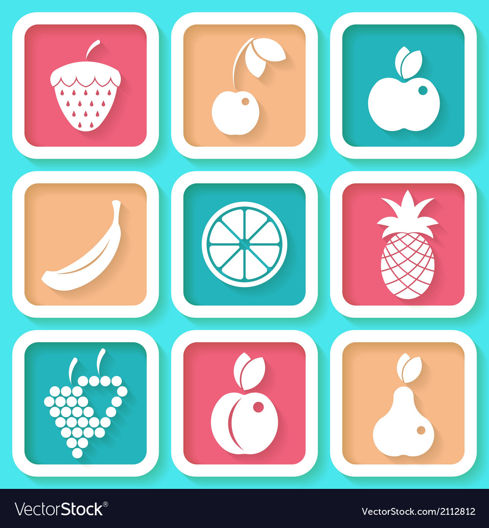 Set of 9 retro icons with fruits vector | Price: 1 Credit (USD $1)