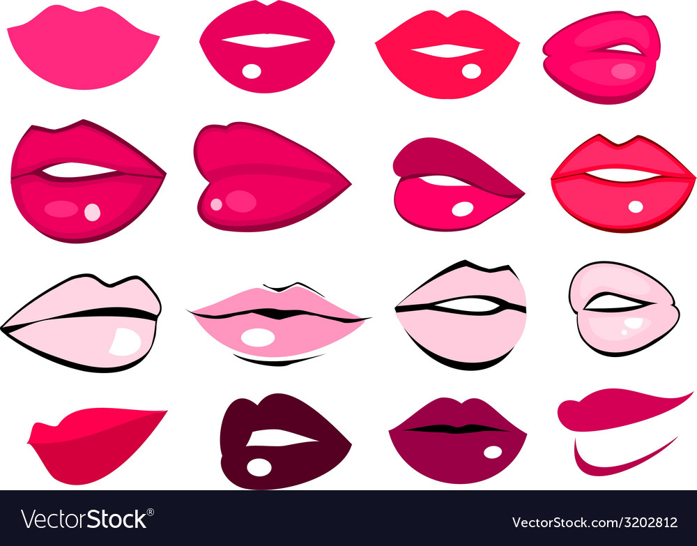 Set of pink and red lips vector | Price: 1 Credit (USD $1)