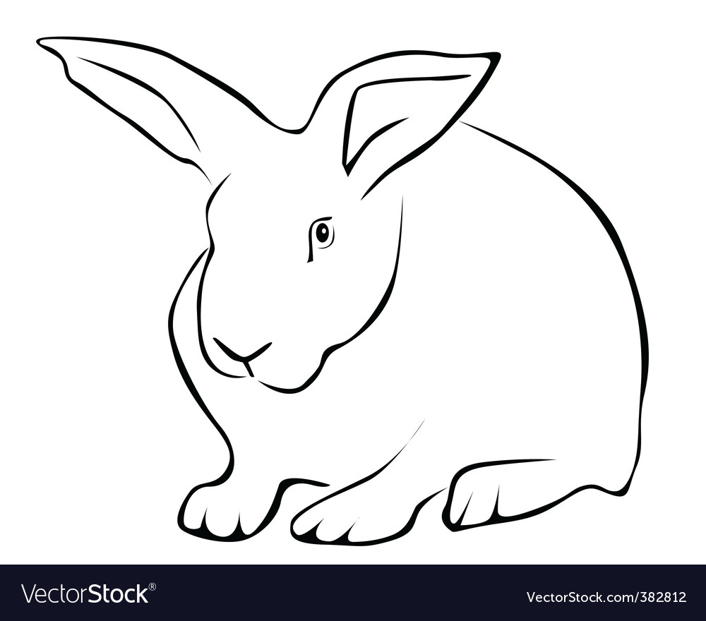 Tracing of a white rabbit vector | Price: 1 Credit (USD $1)