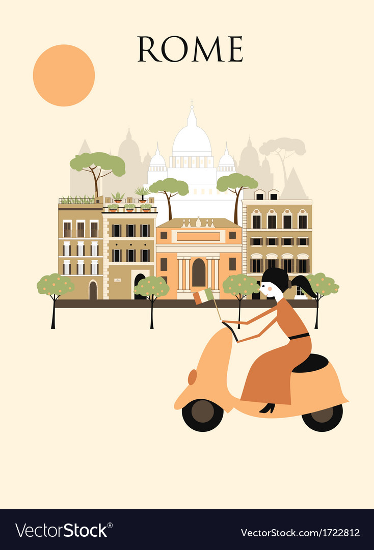 Woman in rome vector | Price: 1 Credit (USD $1)