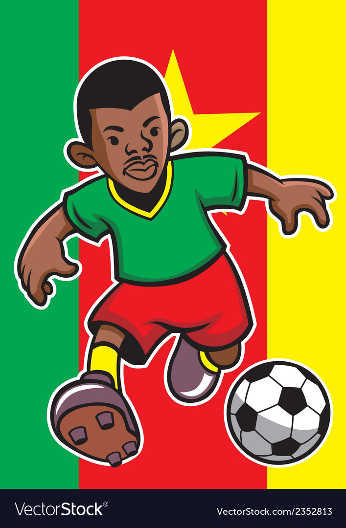 Cameroon soccer player with flag background vector | Price: 1 Credit (USD $1)
