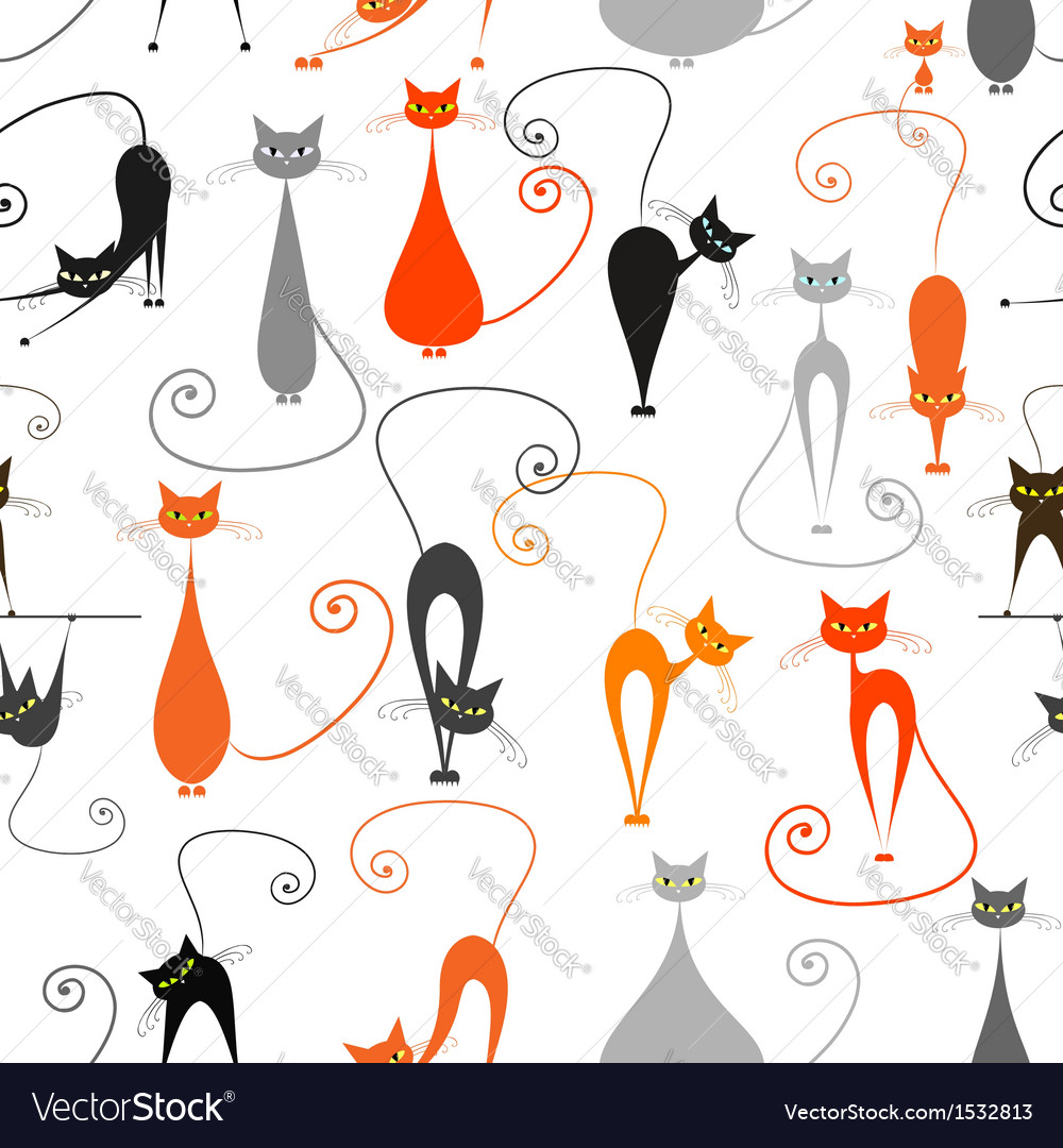 Cats seamless pattern for your design vector | Price: 1 Credit (USD $1)